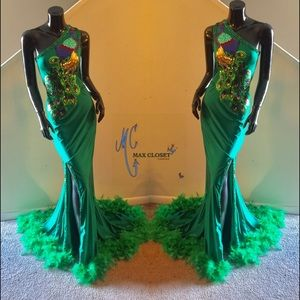A beautiful Peacock formal gown.